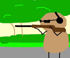 Obunga as a peanut shooting a gun