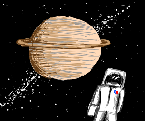 Space woman charged by Saturn