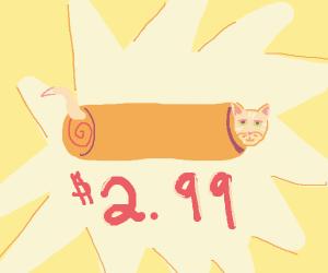 A Cat Hiding in a Burrito