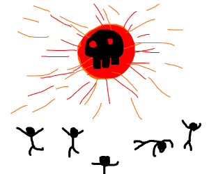 Red sphere emits deadly light, people flee.