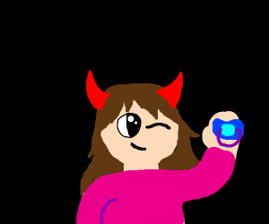 Devil girl with pacifier