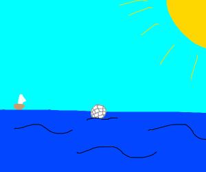 Golf ball in the ocean