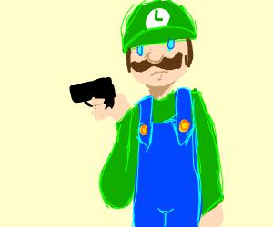 luigi with a handgun
