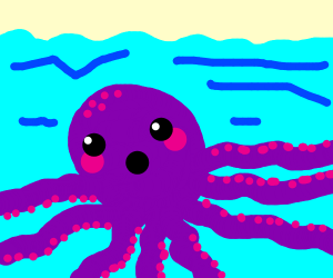 An octopus in the sea