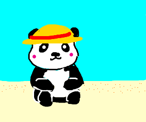 A panda chilling on the beach with a hat