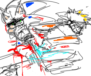 Menacing sonic chopping naruto in half
