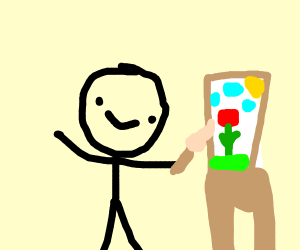 Stickman painting red flower
