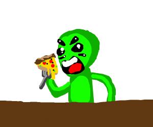 Strange man eating pizza