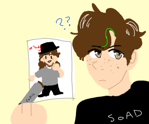 someone drawing a man with a fedora