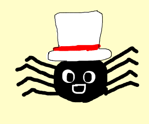 A spider with a red and white top hat