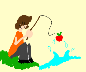 Fishing for fruit..funny