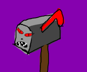evil mailbox with red eyes and black nose