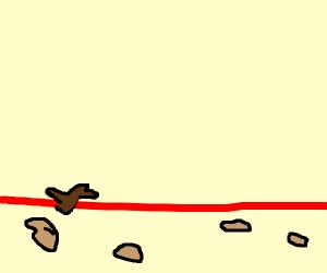 A Stick crossing over Lava