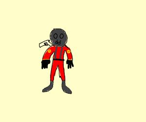 man with gas mask(dark), gun on shoulder