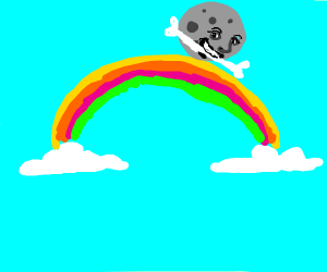 smiling moon on rainbow with a bone in mouth