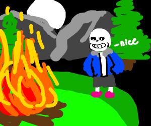 Sans by bonfire