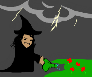 Witch watering her garden in a storm