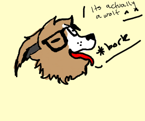 wolf with glasses barking