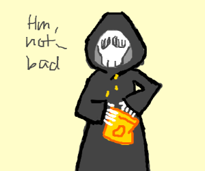 Grim Reaper eating Chips