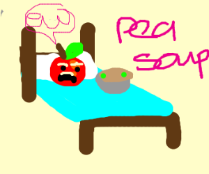 apple disgusted by pea soup while in bed