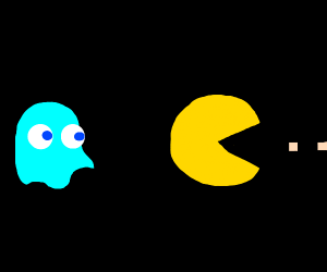 Inky sneaking up on pac-man