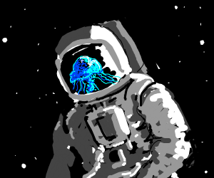 blue jellyfish in a spacesuit