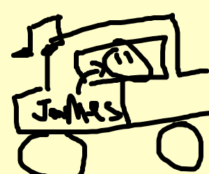 James listens to music in a car