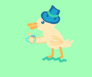 Duck drinking tea