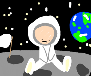 Astronaut is lonely on the moon
