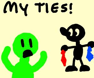 Green man wants his ties