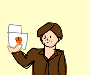man holds picture of a basket ball