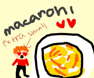 small man loving macaroni