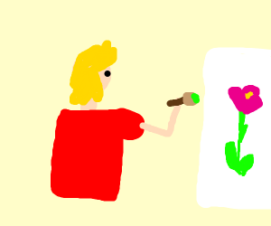 Person painting a flower