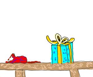 Heart (organ) next to a present