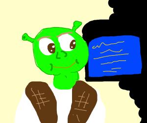 Shrek watching a blue screen