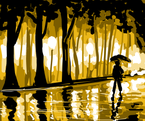 golden forest reflections