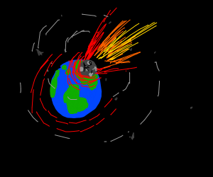 Moon crashing into earth