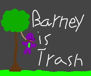 Barney hangs himself on a tree branch