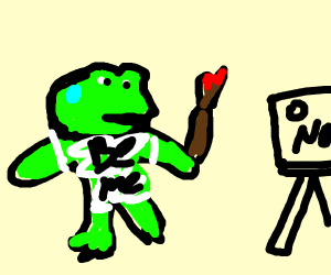 Pepe the frog is painting but in a panic