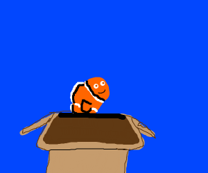 nemo coming out of a box and saying hewo