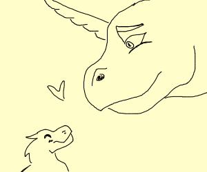 unicorn dino comforts sad friend with love