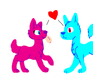the pink and blue dogs are in love