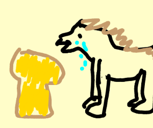 Horse cries at bread