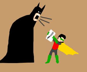 Baby draws the wrong bat and gets yelled at