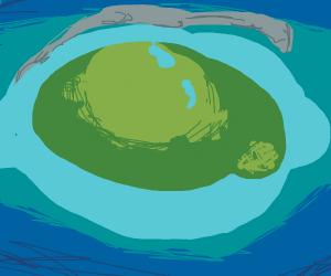 an island shaped like an eye