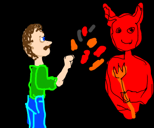Man flicking lava at Satan