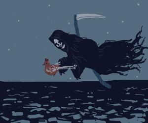 Death steals bird over ocean