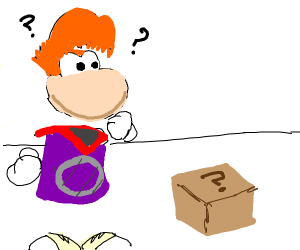 Rayman looks at a thing on the floor