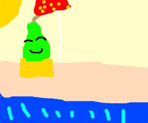 Pear on a beach
