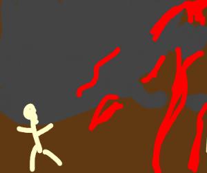 man runs away from murderous volcano